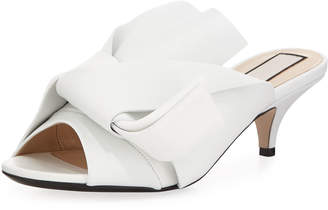 No.21 No. 21 Pleated Napa Leather Low-Heel Slide Sandal