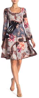 24\u002F7 Comfort Floral Gardens Long Sleeve Knee Length Dress (Plus Size Available)