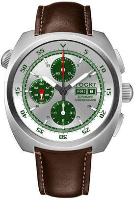 Tockr Watches Men's Air Defender Silverado Chronograph Watch with Brown Leather Strap