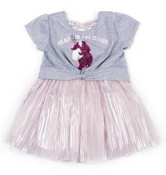 Little Lass Short Sleeve Unicorn Dress - Baby Girls