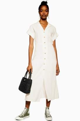 Topshop Womens Shirt Dress With Linen - Ivory