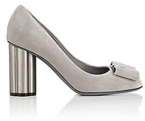 Salvatore Ferragamo Women's Flower-Heel Velvet Pumps-Gray