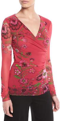 Fuzzi Petunia Floral-Print Faux-Wrap Top