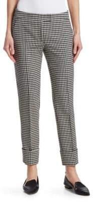 Akris Punto Frankie Gingham Straight-Leg Cuffed Pants