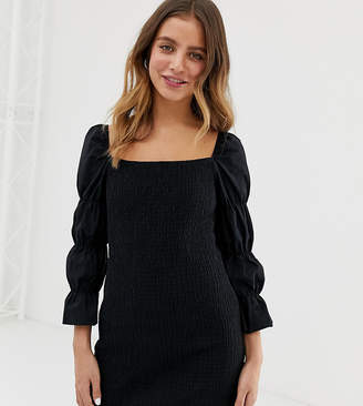 Bershka square neck shirred dress in black