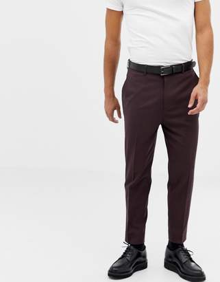 Asos DESIGN tapered suit pants in dark brown