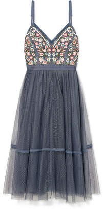 Needle & Thread Whimsical Embroidered Tulle Dress - Blue