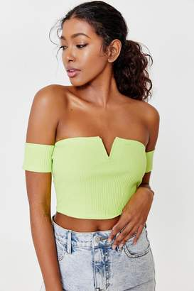 Ardene Neon Crop Ribbed Off Shoulder T-shirt
