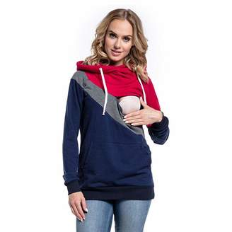 Vanvler Breastfeeding Tops Clearance Sale ! Maternity Hoodie Vanvler Women Breastfeeding Clothes Pregnant Nursing Baby Joint Hooded Tops Blouse Outwear
