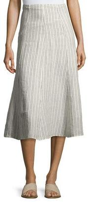 Theory Zimri Narrow Striped Linen Skirt, White $275 thestylecure.com