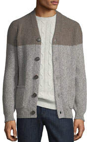Men's Cashmere Melange Colorblock Cardigan