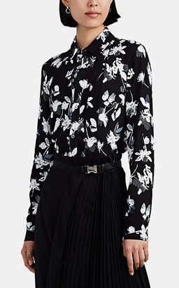 Derek Lam Women's Floral Pleated Cady Blouse - Black