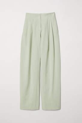 H&M Wide-cut Lyocell-blend Pants - Green