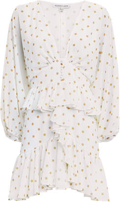 Shona Joy Plunge Polka Dot Ruffle Mini Dress