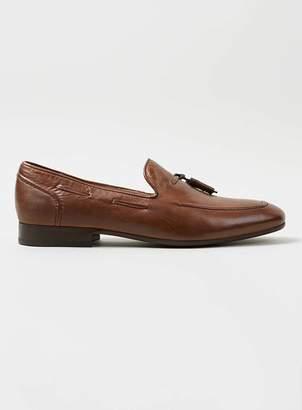 Topman HUDSON'S Tan Leather Tassel Loafers