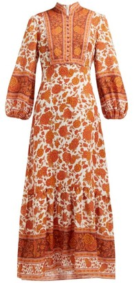 Zimmermann Amari Floral Print Linen Maxi Dress - Womens - Orange
