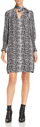 Rebecca Taylor Tie-Neck Snake-Print Silk Shift Dress