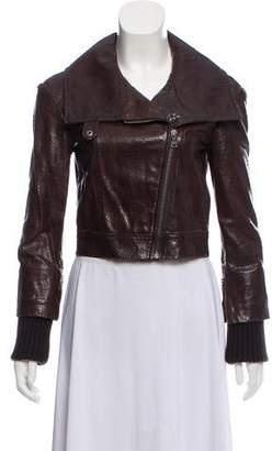Alice + Olivia Cropped Leather Jacket
