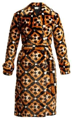 Mary Katrantzou Stokes Geometric Faux Fur Coat - Womens - Brown Multi