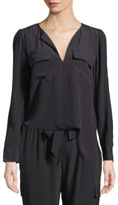 Go Silk Silk Flap-Pocket Top, Petite
