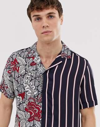 Burton Menswear revere shirt with floral stripe in black