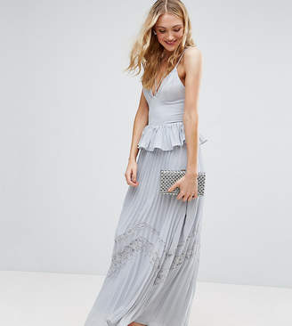True Decadence Tall Cami Strap Maxi Dress With Pleated Skirt And Lace Insert