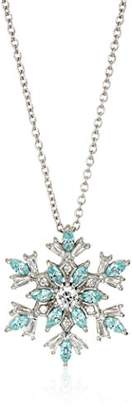 Swarovski Platinum Plated Sterling Silver Snowflake Pendant Necklace set with Frosty Zirconia (1.5 cttw)