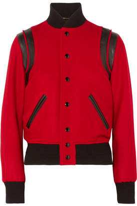 Saint Laurent Teddy Leather-trimmed Wool-blend Bomber Jacket - Red