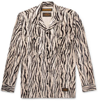 Neighborhood Camp-Collar Zebra-Print Faux Fur Overshirt