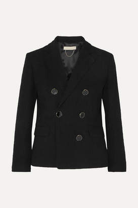 Vanessa Bruno Epone Double-breasted Cotton-blend Cloqué Blazer - Navy