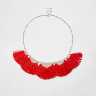 River Island Womens Red tassel fan necklace