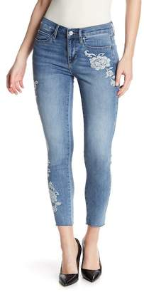Nicole Miller New York Washed Floral Embroidered Skinny Jeans