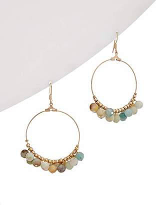 Kenneth Jay Lane Gold and Bead Wire Hoop Earring
