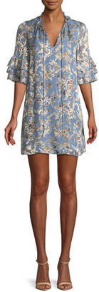 Alice + Olivia Julius Split-Neck Tiered-Sleeve Floral-Jacquard Tunic Dress