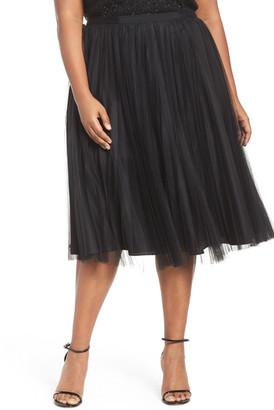 Adrianna Papell Sunburst Pleat Tulle Skirt (Plus Size) $189 thestylecure.com