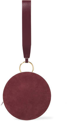 Diane von Furstenberg Circle Two-tone Leather And Suede Clutch - Claret