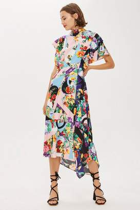 Topshop Floral Print Cowl Back Midi Dress