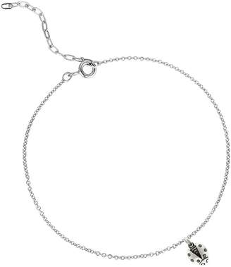 """Lee Renee Ladybird Black Diamond Bracelet (Wings Open) """" Silver"""