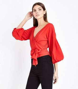 AX Paris Red Tie Front Balloon Sleeve Top