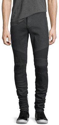 Balmain Skinny Moto Zip-Pocket Jeans $1,265 thestylecure.com