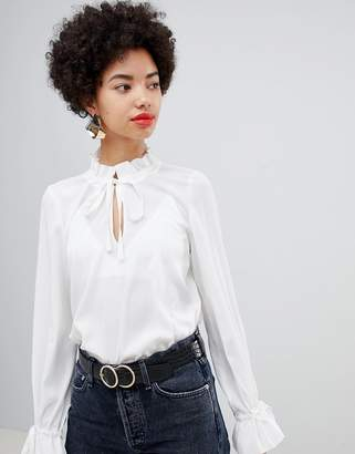 Vero Moda keyhole tie neck blouse