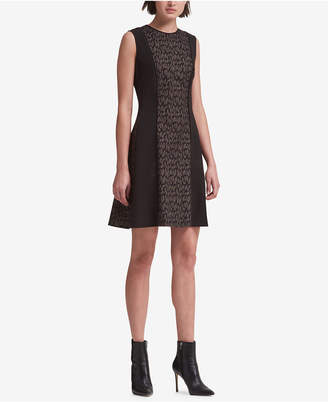 DKNY Printed Panels A-Line Dress