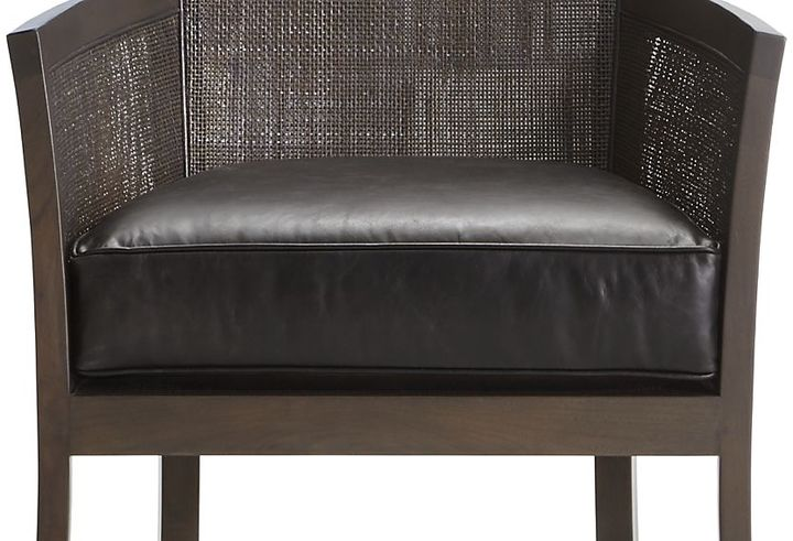 Crate & Barrel Blake Carbon Grey Chair with Leather Cushion
