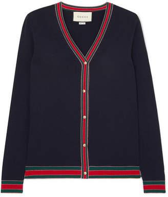 Gucci Striped Wool Cardigan - Navy