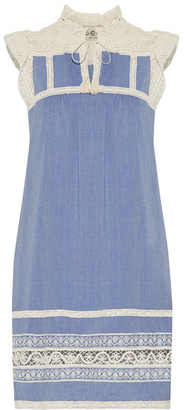 SEA - Ruffled Lace-trimmed Cotton-chambray Dress - Light blue $425 thestylecure.com