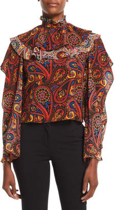 J.W.Anderson High-Neck Long-Sleeve Paisley-Print Silk Top