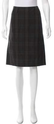Prada Sport Plaid Knee-Length Skirt