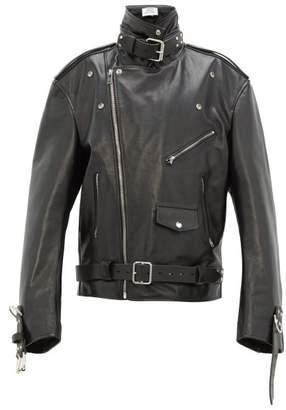 Vetements Oversized Buckled Leather Jacket - Womens - Black