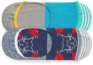 Happy Socks Cats Assorted 2-Pack No-Show Socks