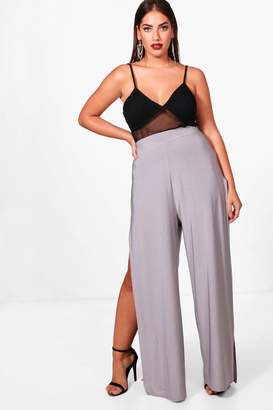 boohoo Plus Slinky Split Wide Leg Trouser